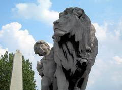 Boy and a lion - stock photo