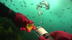 Sewage Water Tests underwater gloved hands opening test jar #11-4 Stock Footage