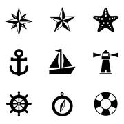 Nautical Icons - stock illustration
