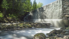 4k wide angle water over retaining dam, generic Stock Footage