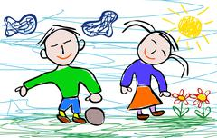 Kids drawing style of boy and girl Stock Illustration