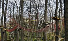 Fragment of rope sports facilities at adventure park - stock photo