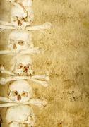 Background with human skulls and bones - stock illustration