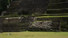 Panning, medium shot of the Jaguar Temple / Jaguar Temple, Lamani, Belize, - stock footage