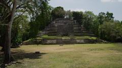 Panning shot of the Jaguar Temple / Jaguar Temple, Lamani, Belize, - stock footage