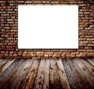 Old room with brick wall - stock illustration