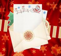 Letter to Santa Claus - stock illustration