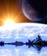 Stock Illustration of Landscape in fantasy planet