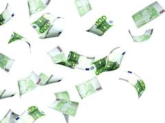Stock Illustration of Flying euro banknotes