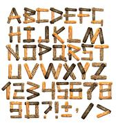 Alphabet from wooden boards and bark Stock Illustration
