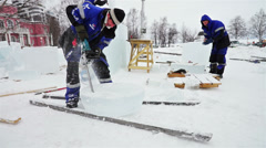 Festival site with craftsmen working at ice Stock Footage