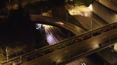 Busy street at night / Seattle, Washington, USA Stock Footage