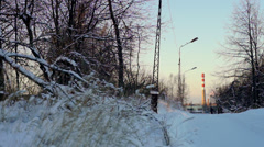 Winter park and tubes of plant at the distance, Petrozavodsk Stock Footage