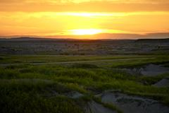South dakota sunset - badlands landscape. western south dakota. Stock Photos