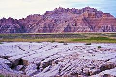 eroded badlands soils - natural wonders photo collection. badlands national p - stock photo