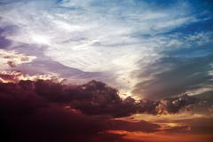 Colorful sunset - colorful summer cloudy sky. nature photo collection. Stock Photos