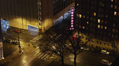 T/L WS HA Busy street intersection at night / Seattle, Washington, USA Stock Footage