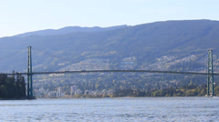 Lions Gate Bridge Highway to North Vancouver Stock Footage