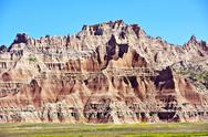 Stock Photo of badlands scenery - badlands landscape. sandstone eroded spires and pinnacles.