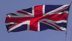 British Flags, UK, United Kingdom, Great Britain Stock Footage