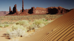 Wide shot of rock formations in Monument Valley / Totem Pole, Monument Valley, Stock Footage