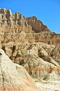 Badlands geology. badlands national park pinnacles and spires. vertical photo Stock Photos