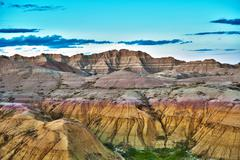 Hdr badlands formations - hdr photography. badlands national park, south dako Stock Photos