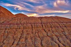 erosion in the badlands.  eroded sandstones closeup. badlands national park, - stock photo
