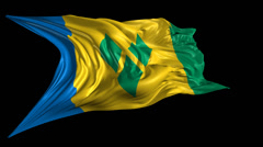 Flag of Saint Vincent and the Grenadines Stock Footage