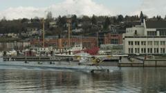 WS TS Seaplane landing on harbor / Seattle,Washington,USA Stock Footage