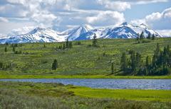 northern yellowstone landscape. gallatin mountains range. quadrant mountain. - stock photo