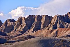 badlands sandy peaks in the badlands national park, south dakota, usa. nature - stock photo