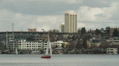 WS Sailboat on harbor / Seattle, Washington, USA Stock Footage