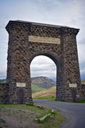 "Yellowstone stone entrance gate - northern entrance. ""for the benefit and en Stock Photos"