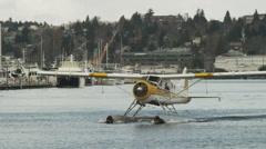 WS TS Seaplane on harbor / Seattle,Washington,USA Stock Footage