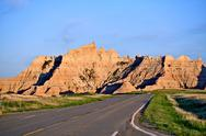 Stock Photo of badlands roadway. loop road in the badlands national park. badlands formation