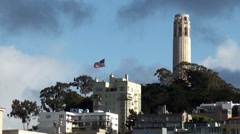 View of Telegraph Hill & Coit Tower in San Francisco. California, USA. Stock Footage