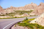 Stock Photo of badlands loop road. badlands national park, usa.