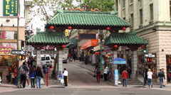 Gateway Arch (Dragon Gate) of the San Francisco Chinatown. California, USA. Stock Footage