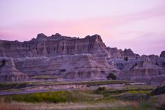 Sunset in the badlands national park. late spring in the badlands. nature pho Stock Photos