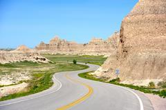 Loop road badlands - curved scenic road thru badlands national park, south da Stock Photos