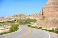 Stock Photo of loop road badlands - curved scenic road thru badlands national park, south da