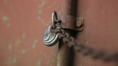 Lock Rusty Chain Red Container - 25FPS PAL - stock footage