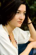 Unhappy brunet woman Stock Photos