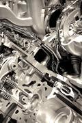 shiny engine closeup. powerful and economic vehicle engine.technology photo c - stock photo