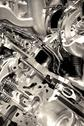 Stock Photo of shiny engine closeup. powerful and economic vehicle engine.technology photo c