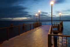Pier at the dusk - stock photo
