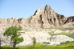 badlands national park in south dakota, usa. badlands summer landscape - stock photo