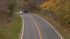 Two lane black top Autumn  Stock Footage