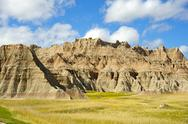 Stock Photo of badlands prairie landscape. summer cloudy day in the badlands np, sd, usa. us